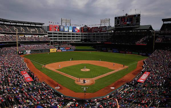 American League Baseball Art Print featuring the photograph Houston Astros V Texas Rangers by Tom Pennington