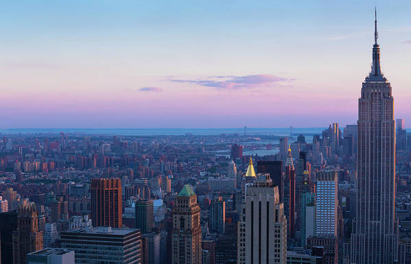 Tranquility Art Print featuring the photograph Aerial View Of Empire State And Midtown by Future Light