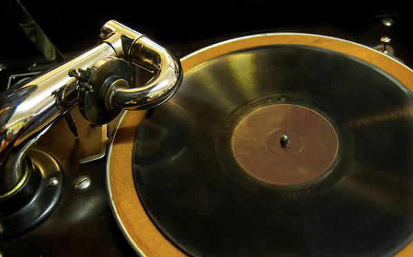 Music Art Print featuring the photograph Antique Phonograph With A Record by Gregory Adams