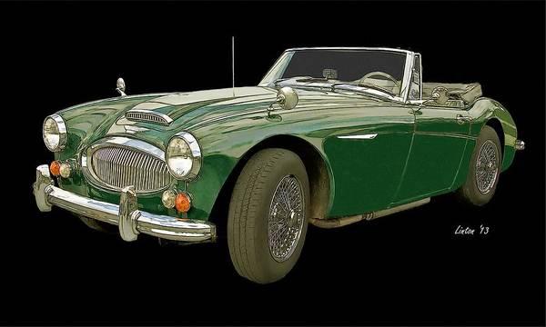 Austin Healey 3000 Art Print featuring the digital art British Racing Green by Larry Linton