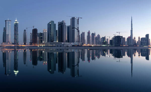 Tranquility Art Print featuring the photograph Dubai Business Bay Skyline With by Spreephoto.de