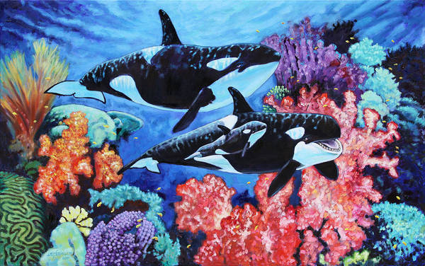 Whales Art Print featuring the painting Happy Life of a Killer Whale by John Lautermilch