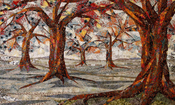 Trees Art Print featuring the tapestry - textile Interwoven by Linda Beach