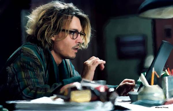 David Koepp Films Art Print featuring the digital art Johnny Depp as Mort Rainey @ Secret Window by Gabriel T Toro