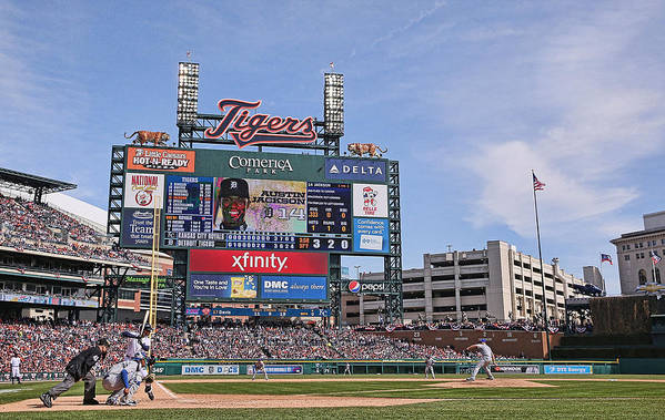 American League Baseball Art Print featuring the photograph Kansas City Royals V Detroit Tigers by Leon Halip