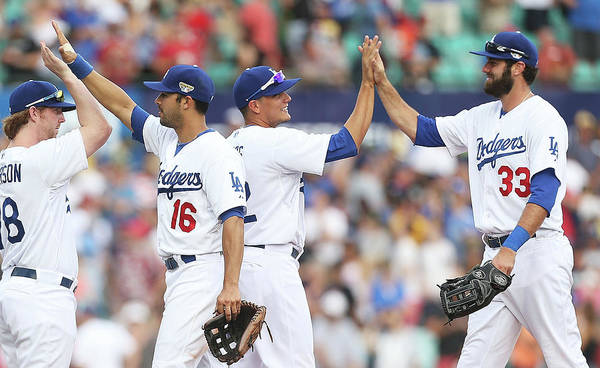 Celebration Art Print featuring the photograph Los Angeles Dodgers V Arizona by Mark Metcalfe
