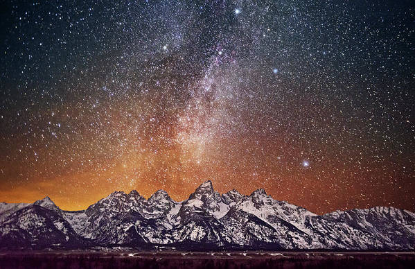 Tranquility Art Print featuring the photograph Milky Way Over Grand Teton by Chen Su