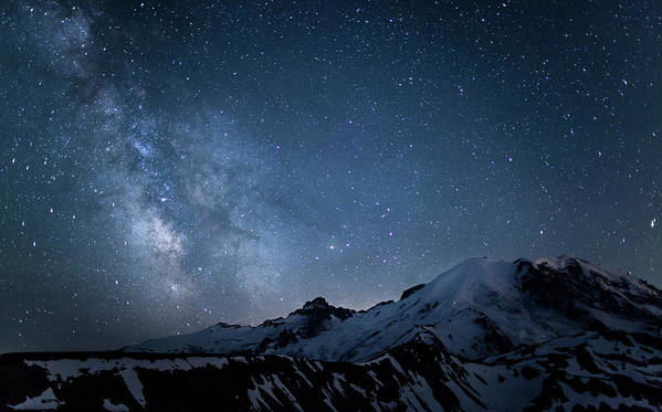 Scenics Art Print featuring the photograph Milky Way Over Mount Rainier by Ed Leckert