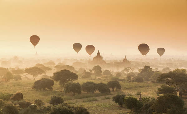 Tranquility Art Print featuring the photograph Myanmar Burma - Balloons Flying Over by 117 Imagery