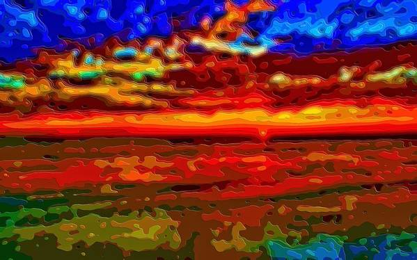 Sunset Art Print featuring the digital art Landscape Ocean Sunset by Mary Clanahan