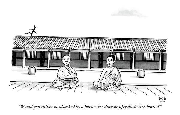 Meditation Art Print featuring the drawing One Buddhist Monk Asks Another While Meditating by Bob Eckstein
