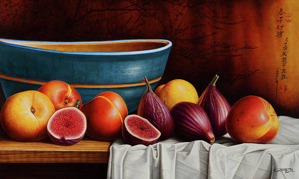 Fruit Art Print featuring the painting Peaches and Figs by Horacio Cardozo