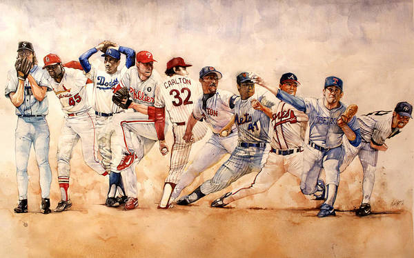 Pitchers Art Print featuring the painting PItching Windup by Michael Pattison