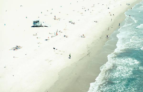 Water's Edge Art Print featuring the photograph Santa Monica Beach by Angela Auclair