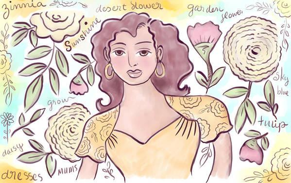 Woman Art Print featuring the digital art Sunshine Flowers by Elaine Jackson