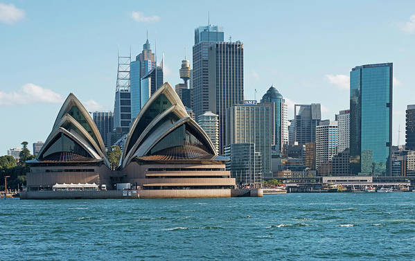 Built Structure Art Print featuring the photograph Sydney Opera House And Waterfront by Marco Simoni