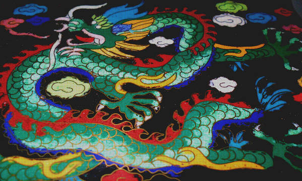 Dragon Art Print featuring the photograph Tapestry Green Dragon by J Andrel