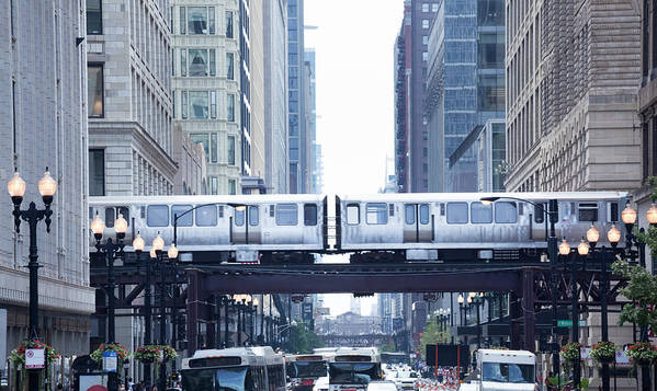 Scenics Art Print featuring the photograph The Loop And El Train In Chicago by Yinyang