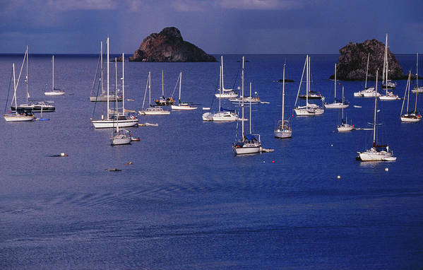 Sailboat Art Print featuring the photograph Yachts Moored On The Caribbean Sea Near by Richard I'anson