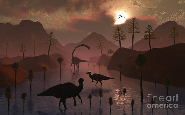 No People Art Print featuring the digital art Sauropod And Duckbill Dinosaurs Feed by Mark Stevenson