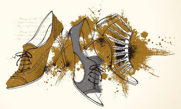 Horizontal Art Print featuring the digital art Feminine Shoes by Eastnine Inc.