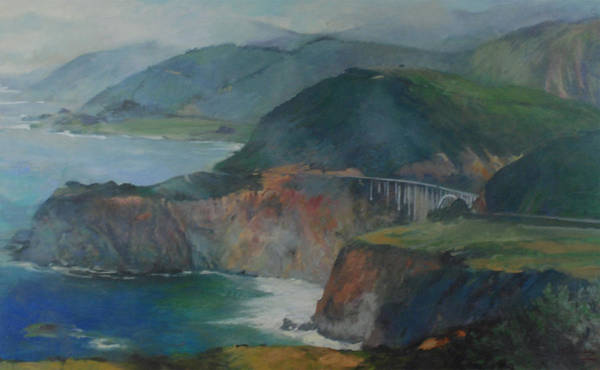 California Art Print featuring the painting California Coastline by Marilyn Muller