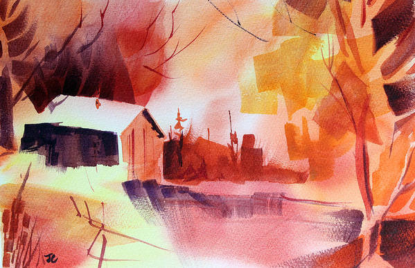 Abstract Landscape Art Print featuring the painting Dagmar's Farm No. 1 by Josh Chilton