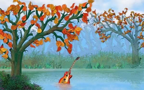 River Guitar Art Print featuring the digital art River Guitar by Tony Rodriguez