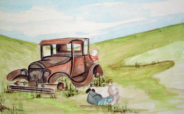 Boyhood Art Print featuring the painting Boys Being Boys by Tammera Malicki-Wong
