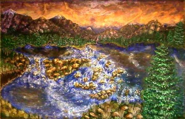 Lake Art Print featuring the painting Lake Succession by Tanna Lee M Wells