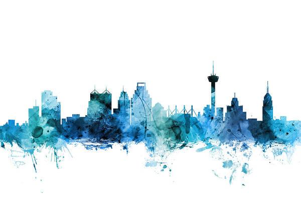 San Antonio Art Print featuring the digital art San Antonio Texas Skyline by Michael Tompsett