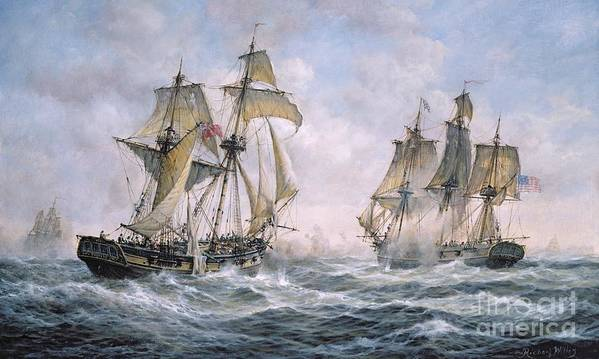 Seascape; Ships; Sail; Sailing; Ship; War; Battle; Battling; United States; Wasp; Brig Of War; Frolic; Sea; Water; Cloud; Clouds; Flag; Flags; Sloop; Action; Wave; Waves Art Print featuring the painting Action Between U.S. Sloop-of-War 'Wasp' and H.M. Brig-of-War 'Frolic' by Richard Willis