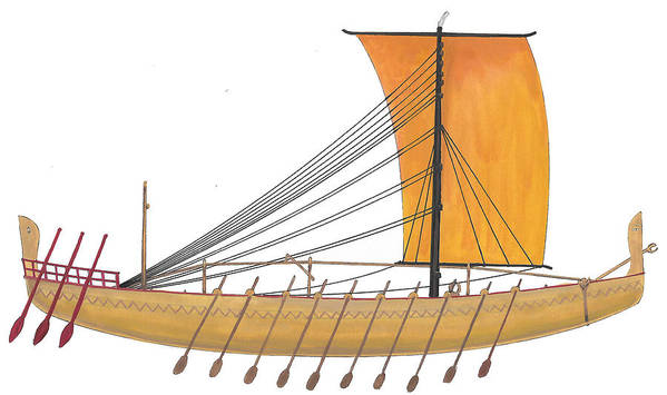 Ancient Art Print featuring the painting Ancient Empire Trade ship by The Collectioner