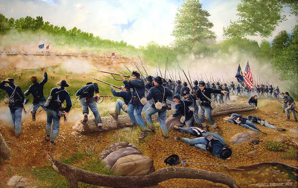 Civil War Art Print featuring the painting Battle Of Utoy Creek by Marc Stewart