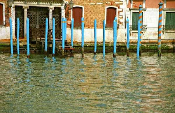 Venice Art Print featuring the photograph Blue Poles in Venice by Michael Henderson