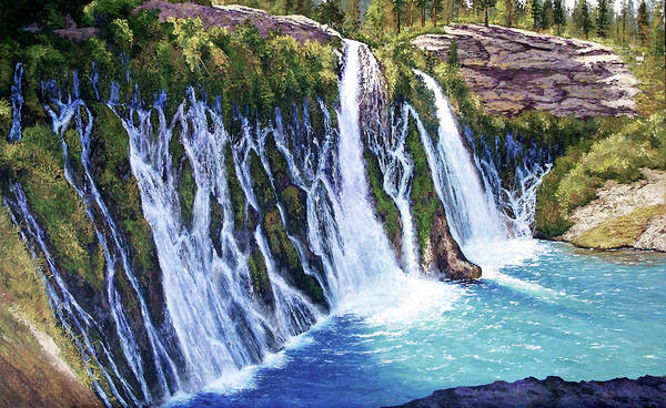 Burney Falls In Northern California Art Print featuring the painting Burney Falls by Donald Neff