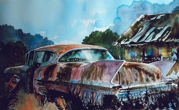Caddy Art Print featuring the painting Caddy Subsiding by Ron Morrison