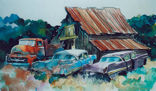 Ford Cabover Art Print featuring the painting Cluster of Restorables by Ron Morrison