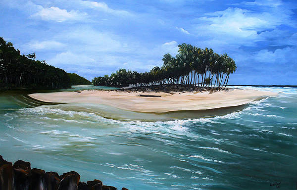 Ocean Paintings Sea Scape Paintings  Beach Paintings Palm Trees Paintings Water Paintings River Paintings  Caribbean Paintings  Tropical Paintings Trinidad And Tobago Paintings Beach Paintings Art Print featuring the painting Cocos Bay Trinidad by Karin Dawn Kelshall- Best