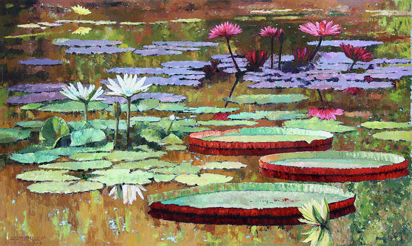 Garden Pond Art Print featuring the painting Colors on the Lily Pond by John Lautermilch