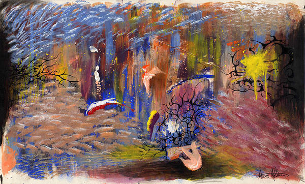 Abstract Art Print featuring the painting Confrontation by Nathaniel Hoffman