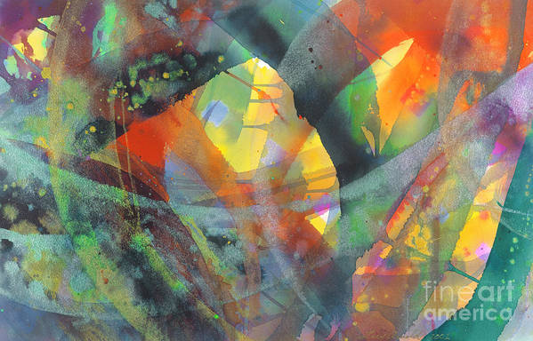 Abstract Art Print featuring the painting Connections by Lucy Arnold