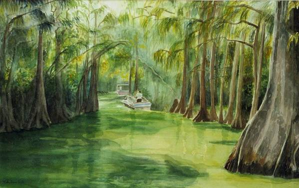 Passage Between Lakes Art Print featuring the painting Dora Passage by Judy Swerlick