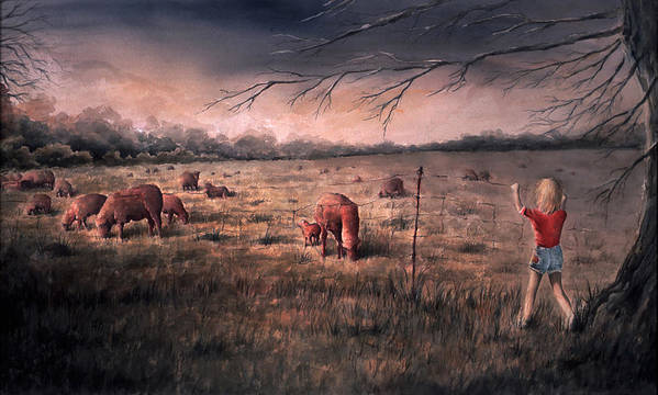 Landscape Art Print featuring the painting A childhood by William Russell Nowicki