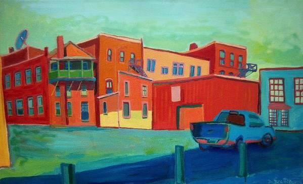 Cityscape Art Print featuring the painting Fire Escapes In Burlington by Debra Bretton Robinson