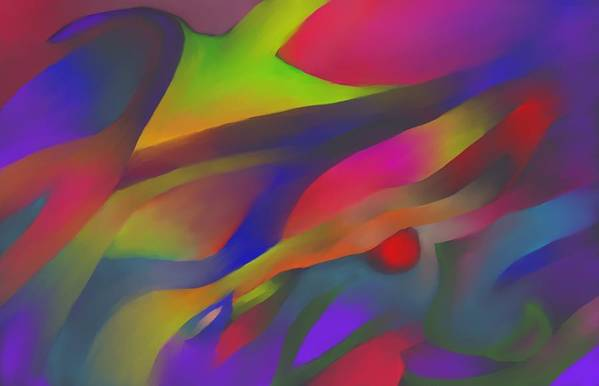 Colorful Art Print featuring the digital art Flowing Energies by Peter Shor