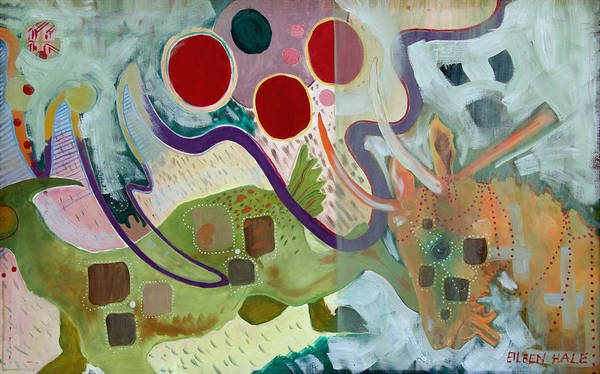 Abstract Expressionist Dream-surreal Art Print featuring the painting Goat Squad by Eileen Hale