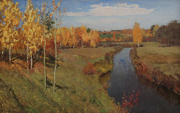 Isaac Levitan Art Print featuring the painting Golden Autumn by Isaac Levitan
