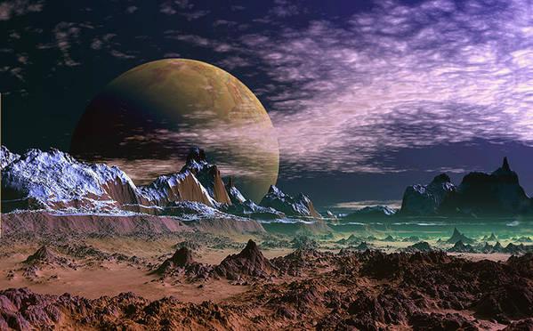 David Jackson Great Moona Alien Landscape Planets Scifi Art Print featuring the digital art Great Moona. by David Jackson