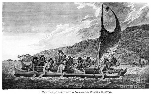 1779 Art Print featuring the photograph Hawaii: Canoe, 1779 by Granger